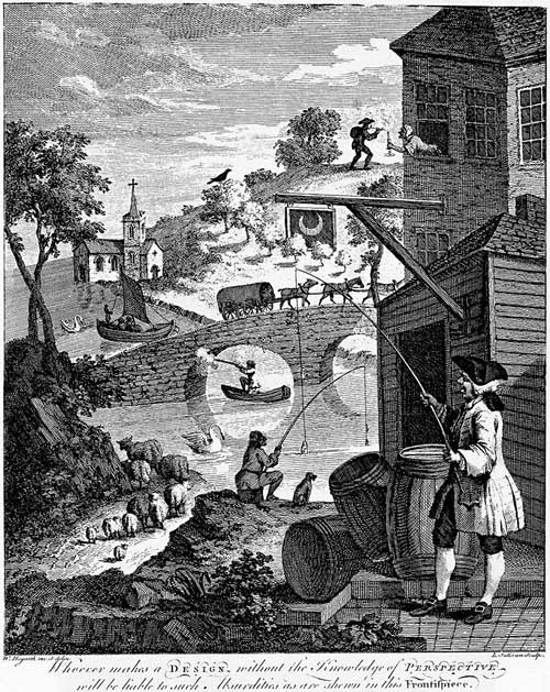 "William Hogarth, 'Satire on ""False Perspective"": Whoever makes a Design without the knowledge of Perspective will be liable to such absurdities as are shewn in this Frontispiece'."